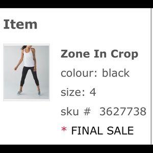 Lulemon Zone In Crop - final sale never worn